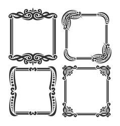 set decorative black frames vector image