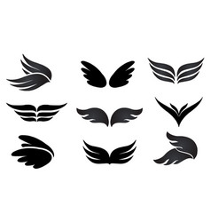 Set elements wings logo sign vector