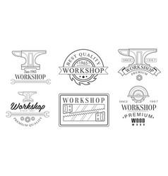 set logos for sawmill vector image