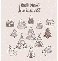 Set of north american indian tipi homes with vector
