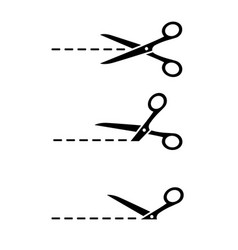 set stainless scissors silhouette cutting line vector image