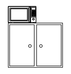 Silhouette of kitchen shelf and drawers with vector