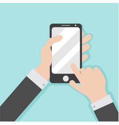 smartphone operating hand gesture graphic vector image