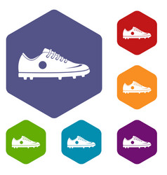 Soccer shoe icons set hexagon vector