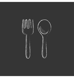 Spoon and fork Drawn in chalk icon vector image