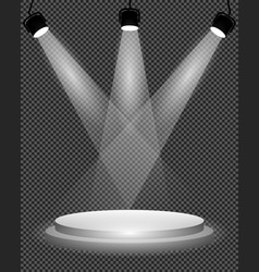 spotlights on stage podium and bright light illum vector image