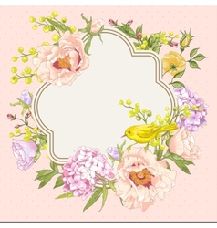 Spring Vintage Floral Bouquet with Birds vector image