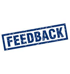 Square grunge blue feedback stamp vector