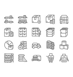 Stockpile line icon set vector