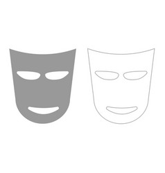 Theater mask grey set icon vector