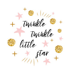 Twinkle little star text with gold polka vector