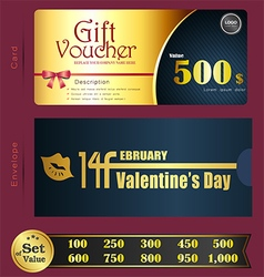 Valentine Day Gift voucher template with premium p vector image