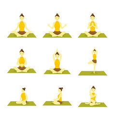 various yoga meditation pose seated set vector image