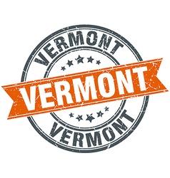 Vermont red round grunge vintage ribbon stamp vector