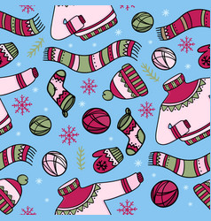 warm winter clothes hygge seamless pattern vector image