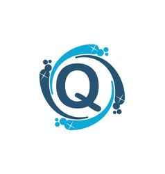 Water clean service abbreviation letter q vector