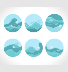 Water splashes collection blue waves wavy symbols vector