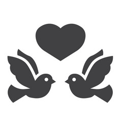 Wedding doves with heart glyph icon valentines vector