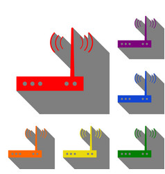 Wifi modem sign set of red orange yellow green vector