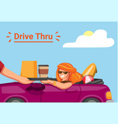 woman take order in drive threw restorant vector image