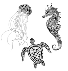 Zentangle stylized black turtle sea horse and vector