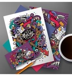 Cartoon hand-drawn doodles Musical identity vector image