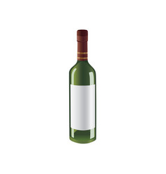 green bottle of wine with space for brand vector image vector image