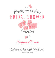 invitation bridal shower card withsakura flowers vector image