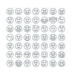 line flat emoticons set modern flat smileys icon vector image