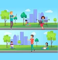 people spend time in city park with computer vector image vector image