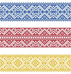 Set of seamless ornamented borders based on vector image
