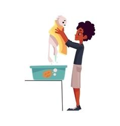 Black African teenage boy washing bathing white vector image vector image