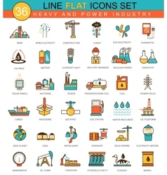heavy and power industry flat line icon set vector image