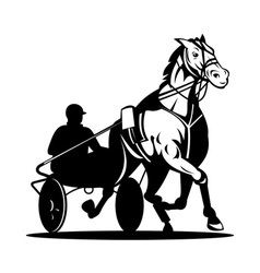 horse and jockey harness racing vector image vector image