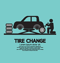 Person Changing Automobil Wheel Tire Graphic vector image vector image
