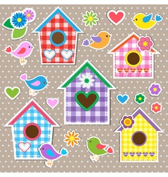 Birdhousesbirds and flowers vector image