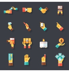Business Hands Symbols Finance Accessories Icons vector image