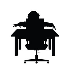 child silhouette sitting on chair with desk vector image