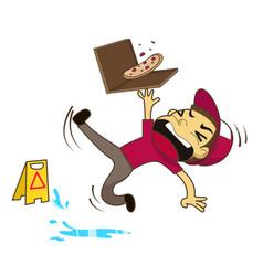 pizza boy slipping on wet floor vector image vector image