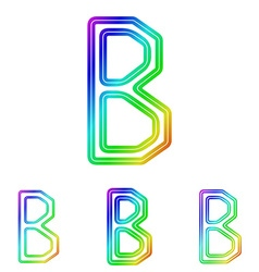 Rainbow b letter logo design set vector image vector image