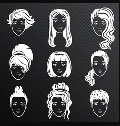 set of white women avatar hairstyles vector image vector image