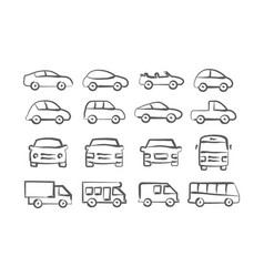 Car doodle icons vector
