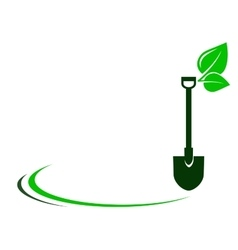 Garden background with shovel and green leaf vector