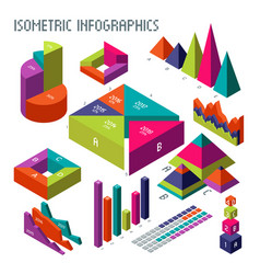 isometric 3d diagrams and graphs for your vector image vector image