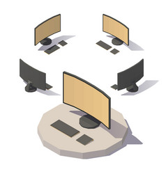 low poly computer vector image vector image
