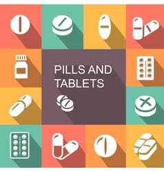 Pills and Tablets colored icons flat style vector image
