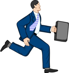 Running businessman with briefcase vector image