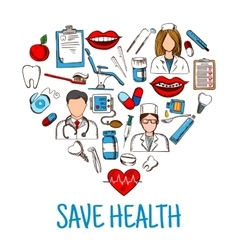 Save Health symbol with heart of medical sketches vector image vector image
