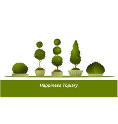 Set garden topiary vector