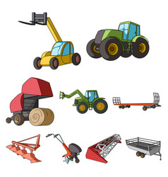 Set of pictures about agricultural machinery cars vector